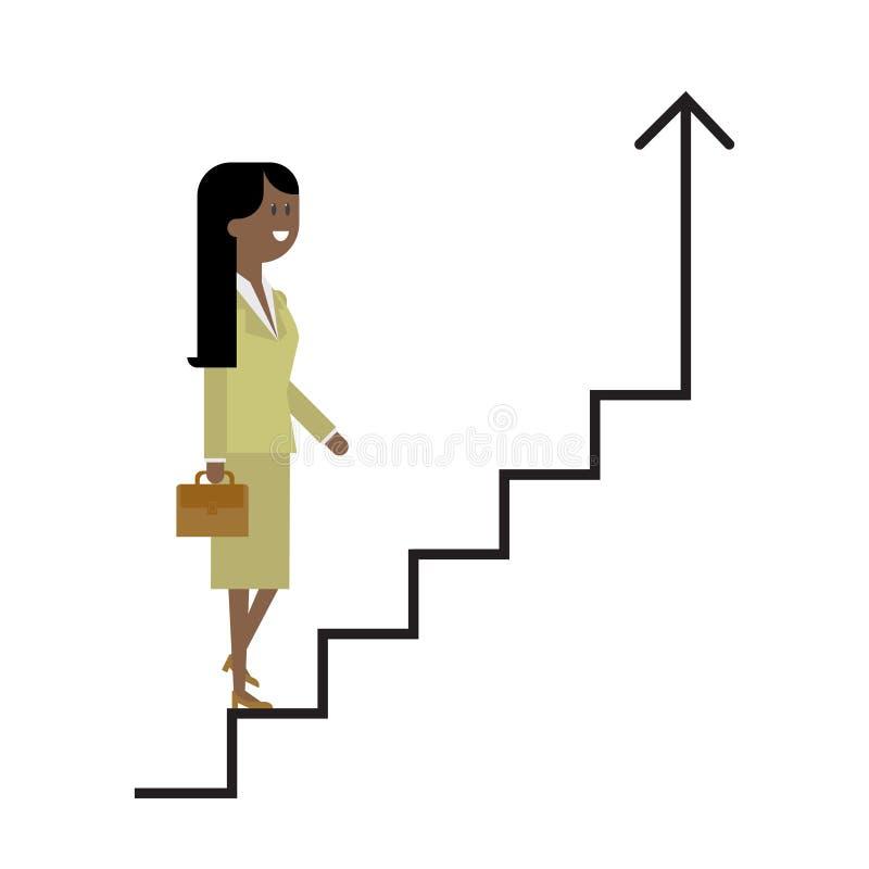 La escalera de la carrera, una mujer sube las escaleras, empresaria, un suc foto de archivo