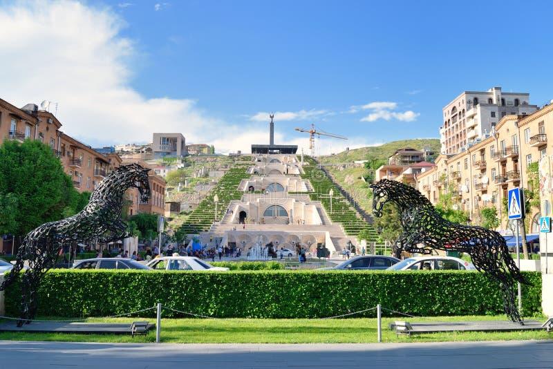 La escalera de la cascada, Ereván, Armenia foto de archivo libre de regalías