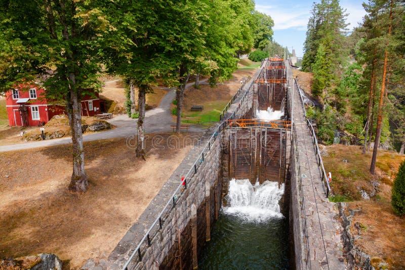 La escalera de Vrangfoss cierra el canal Telemark Noruega de Telemark imagenes de archivo