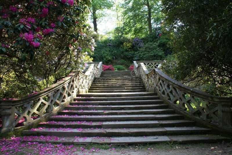 La escalera del jardín del castillo de Hever en Inglaterra foto de archivo