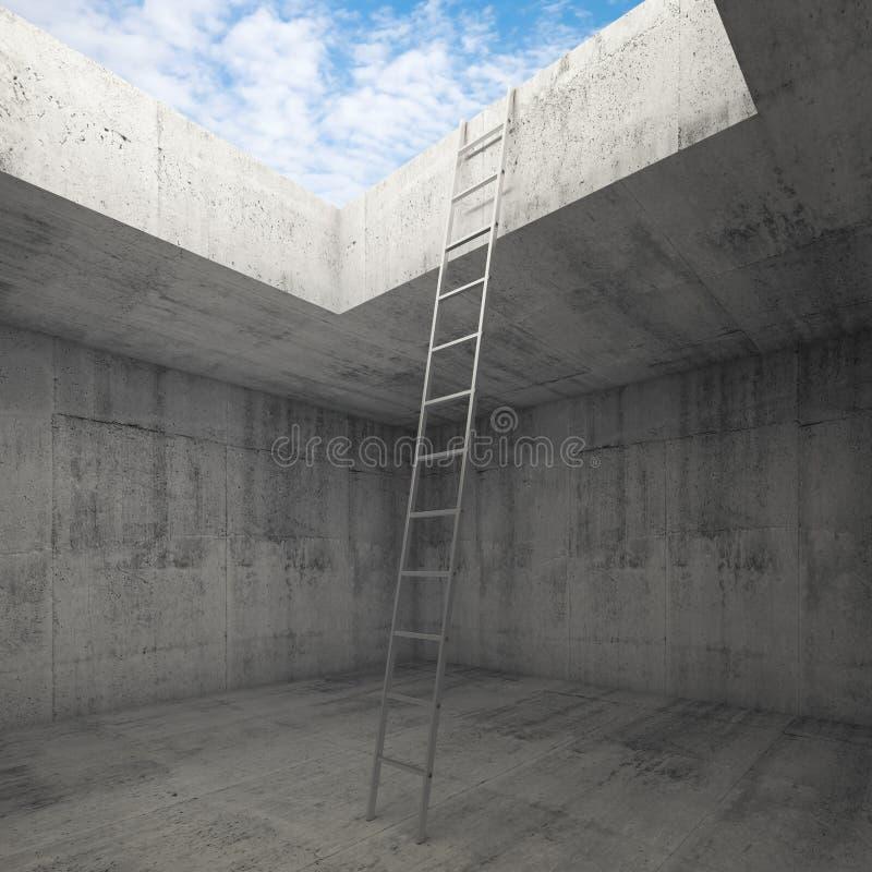 La escalera del metal va al cielo hacia fuera del interior concreto libre illustration