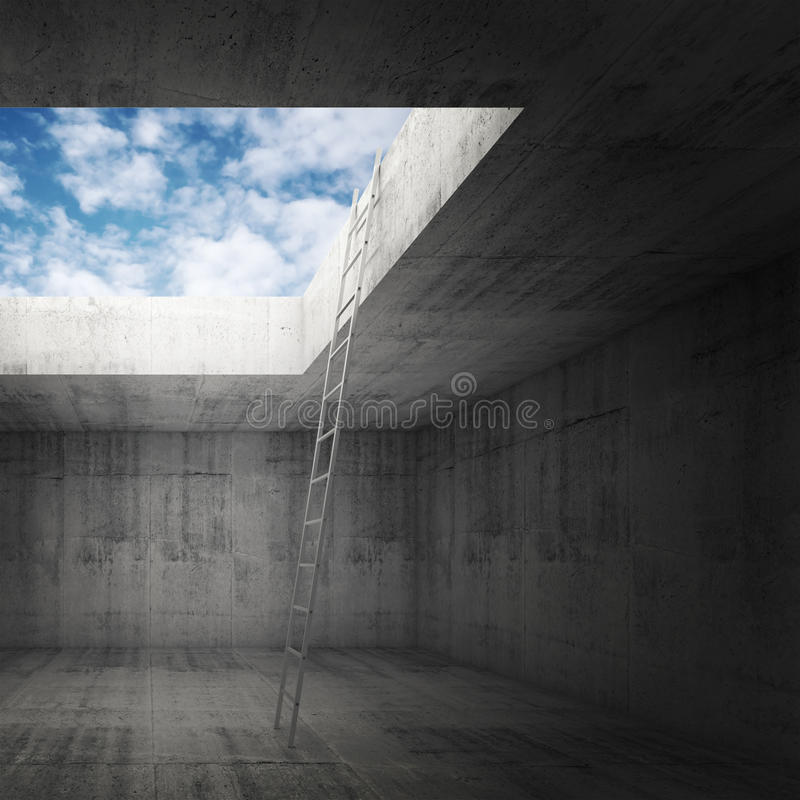 La escalera del metal va al cielo hacia fuera del interior oscuro ilustración del vector
