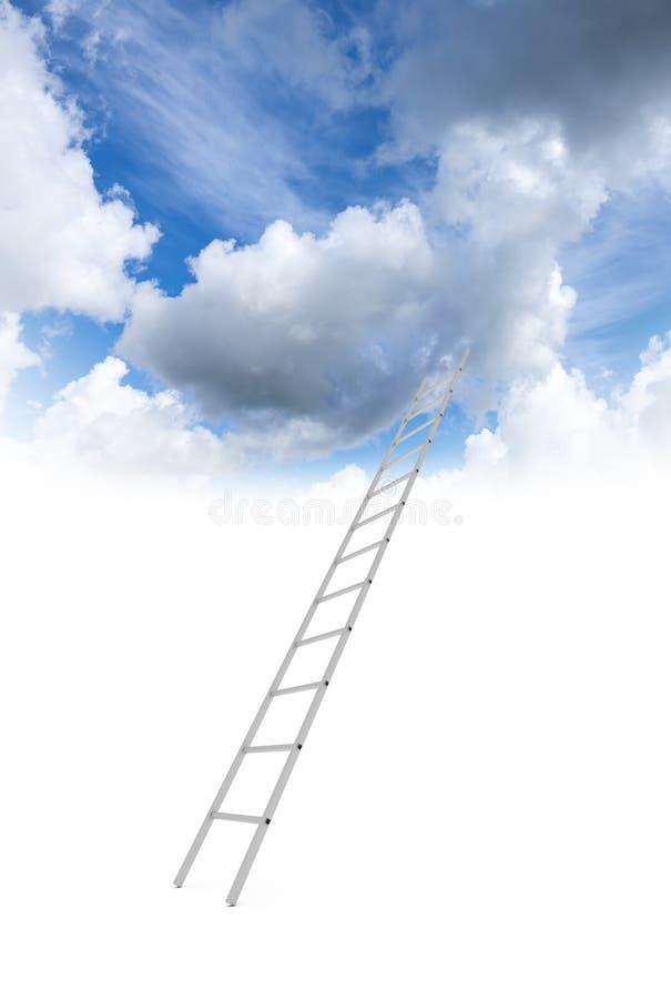 La escalera del metal va al cielo nublado stock de ilustración