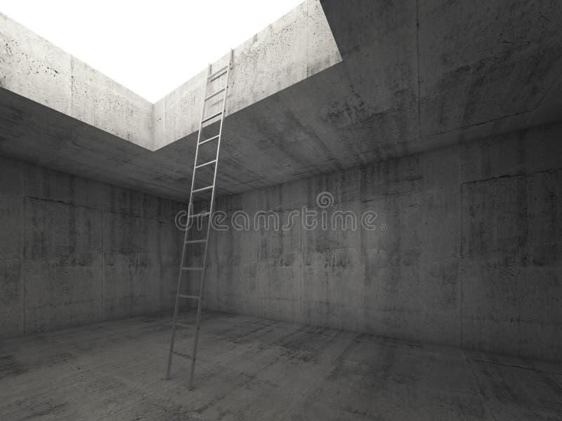 La escalera del metal va a la luz hacia fuera del interior concreto ilustración del vector