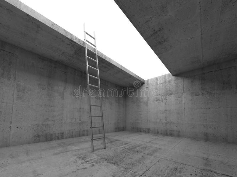 La escalera del metal va para arriba de sitio concreto oscuro ilustración del vector