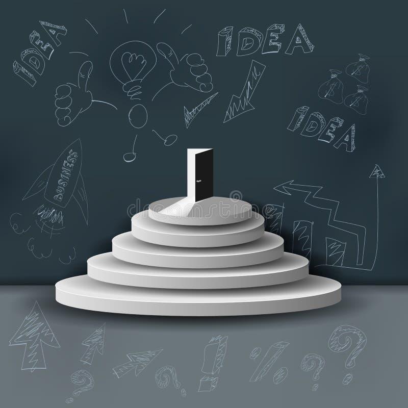 La escalera del negocio El concepto de esfuerzo para el éxito, idea financiera innovadora bosquejo Ejemplo del vector de 3 D stock de ilustración