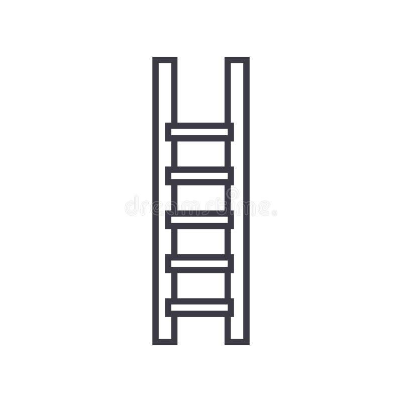 La escalera, escaleras vector la línea icono, muestra, ejemplo en el fondo, movimientos editable stock de ilustración
