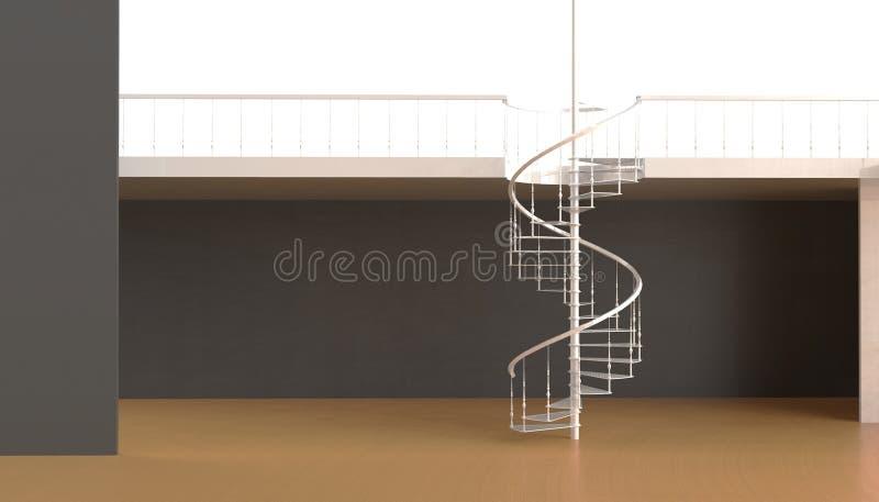 La escalera espiral en la sala de estar contemporánea es hermosa y simple en el fondo de paredes negras y moderna stock de ilustración