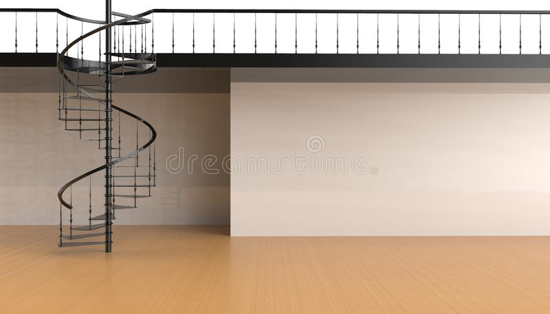 La escalera espiral en la sala de estar contemporánea es simple y minimalista en el fondo de las paredes blancas ilustración del vector