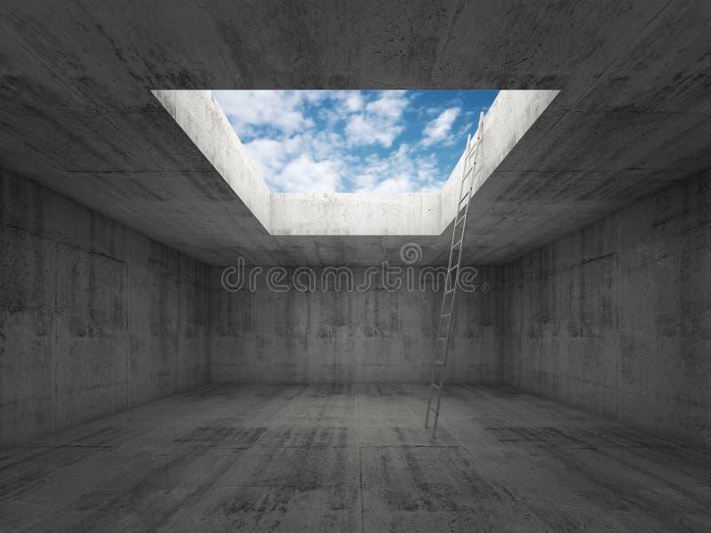 La escalera va al cielo hacia fuera del interior concreto oscuro, 3d ilustración del vector