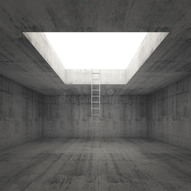La escalera va a la luz hacia fuera del interior concreto oscuro libre illustration