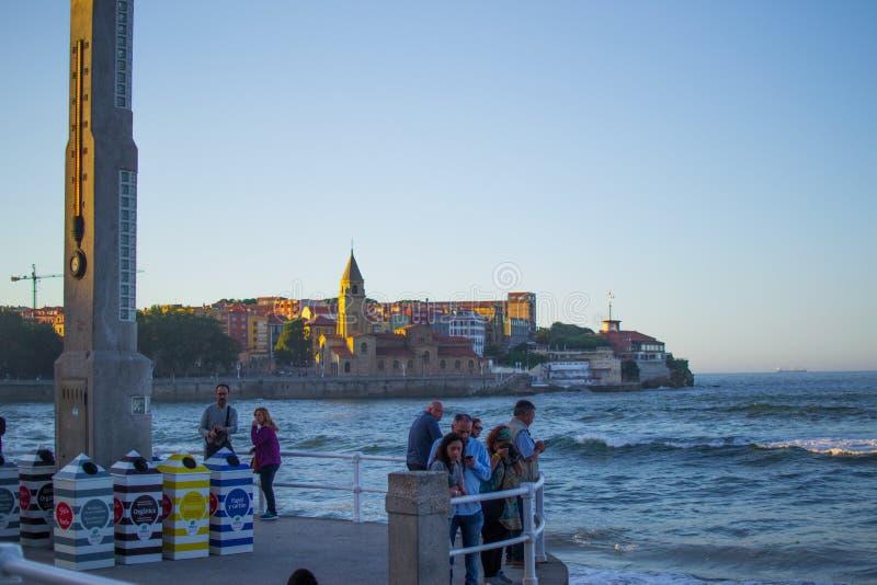 La Escalerona with San Pedro`s Church at the background in San Lorenzo beach, in Gijon, Asturias, Spain stock photos
