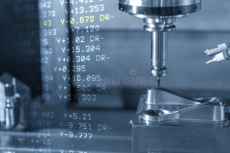 La escena abstracta del centro de mecanización triaxial del CNC y de los datos del G-código stock de ilustración