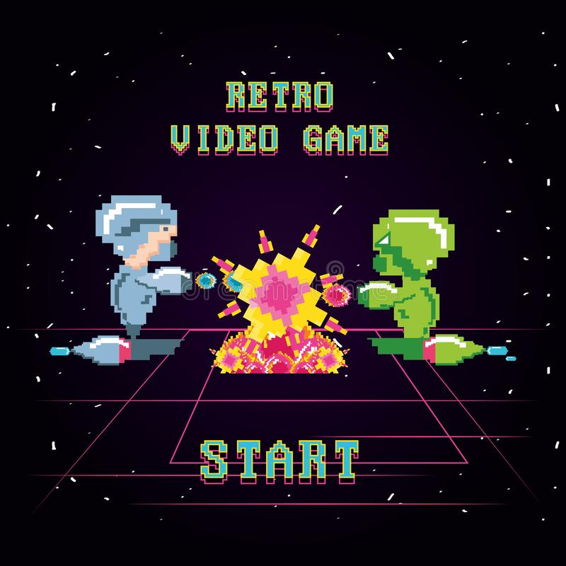 La escena clásica del videojuego con los guerreros lucha ilustración del vector