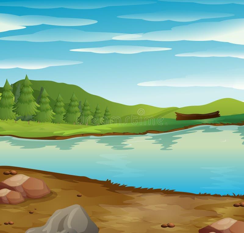 La escena con el río atraviesa el bosque stock de ilustración