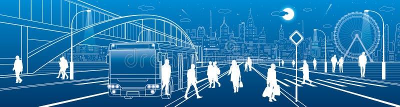 La escena de la ciudad, paseo abajo de la calle, pasajeros de la gente sale del autob?s, ciudad de la noche, carretera iluminada, ilustración del vector