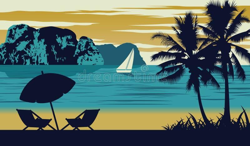 La escena de la naturaleza del mar en verano, el paraguas y la choza están en la playa, diseño del color del vintage ilustración del vector