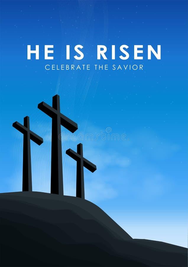 La escena de pascua del cristiano, cruz del salvador en escena dramática de la salida del sol, con el texto lo suben, ejemplo ilustración del vector