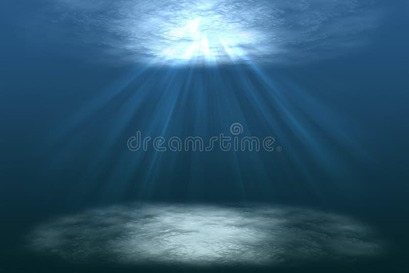 La escena de un mundo inferior hermoso del agua con el sol irradia, debajo de laguna, debajo del mar, ejemplo ilustración del vector