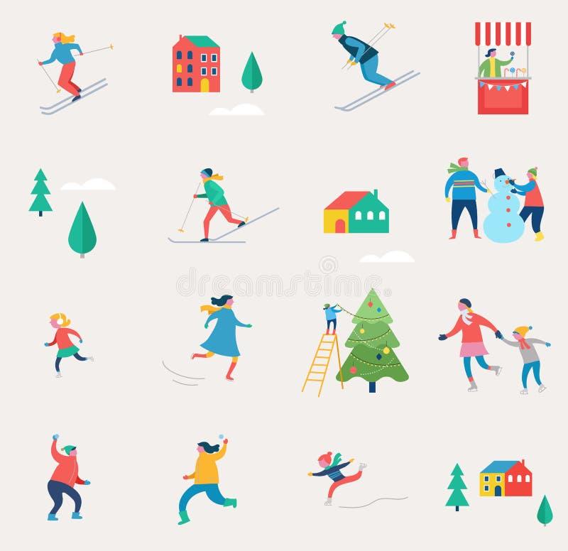 La escena del deporte de invierno, el festival de la Navidad y justos, las familias con los niños se ríen ilustración del vector