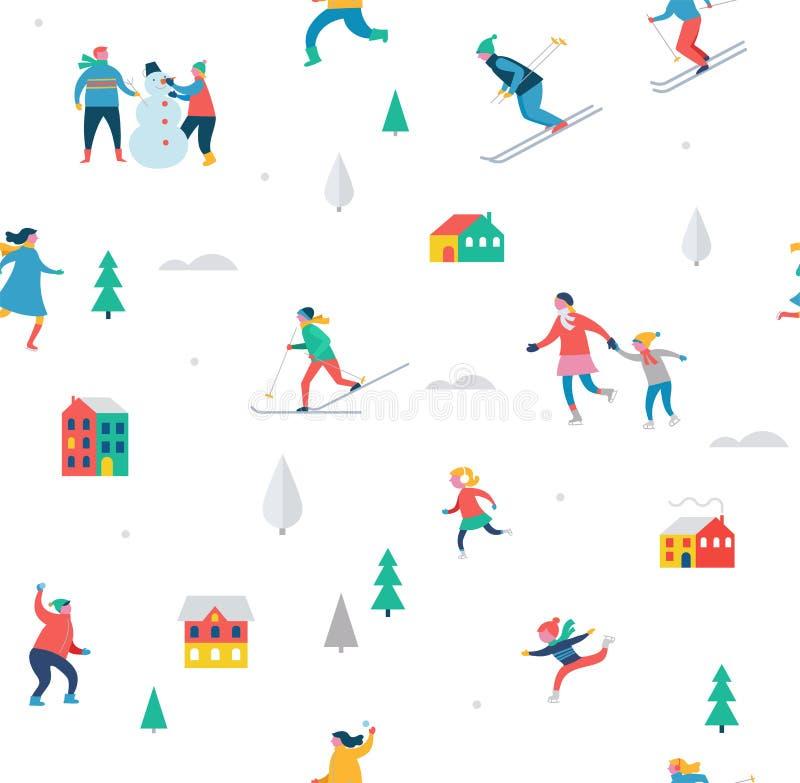 La escena del deporte de invierno, el festival de la Navidad y justos, las familias con los niños se ríen stock de ilustración