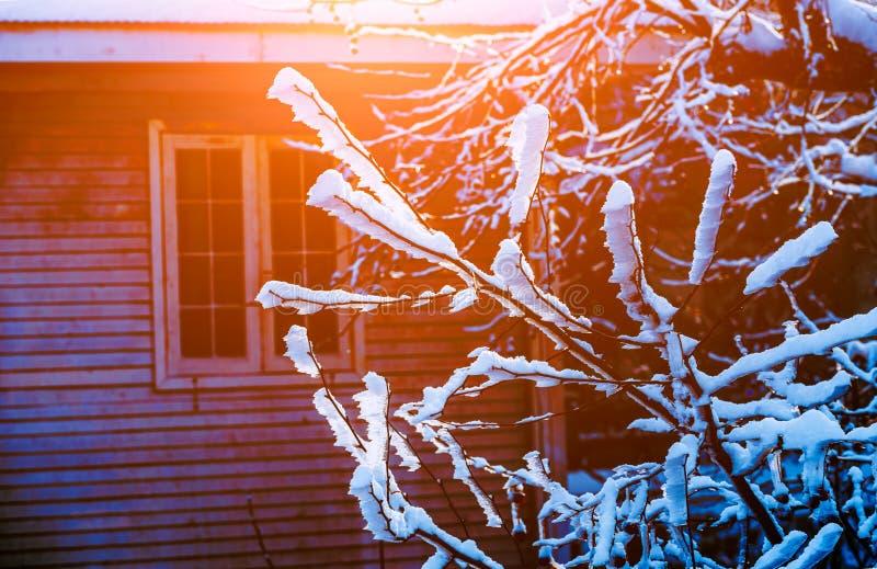 La escena del esmalte 6-Snow de la nieve en el soporte Lu imagenes de archivo