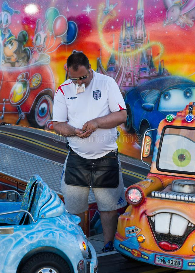 La escena del Hoppings, ciudad amarra En julio de 2018 El funfair que viaja más grande de Europa imagen de archivo
