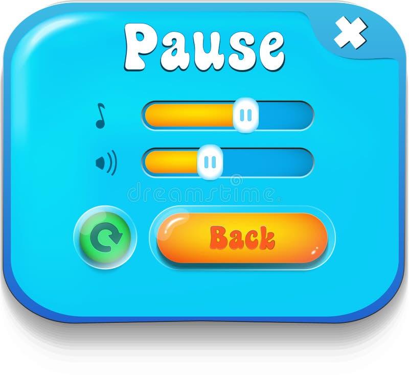 La escena del menú de la pausa surge con música sana y botones stock de ilustración