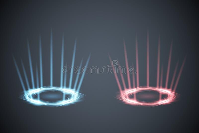 La escena del resplandor irradia el juego del conflicto de la energía contra el ejemplo del gráfico de vector del fondo de la com ilustración del vector