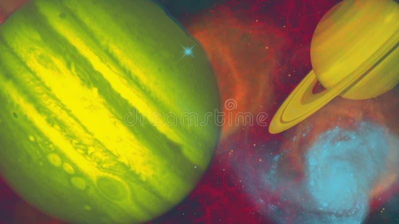 La escena planetaria primaria del espacio con el gas se nubla en el gound trasero stock de ilustración