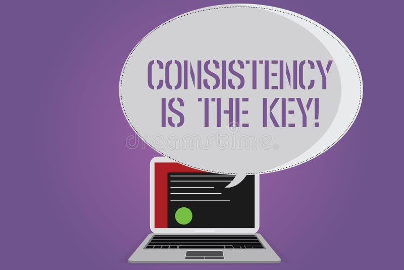La escritura conceptual de la mano que muestra consistencia es la llave Esmero completo del texto de la foto del negocio a una ta ilustración del vector