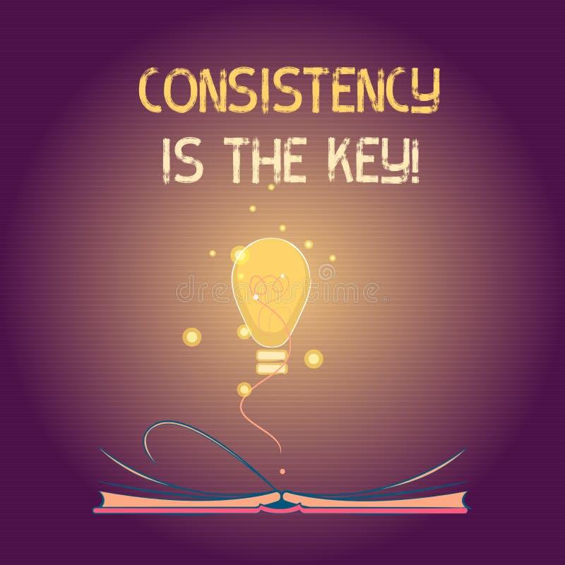 La escritura conceptual de la mano que muestra consistencia es la llave Esmero completo del texto de la foto del negocio a una ta stock de ilustración