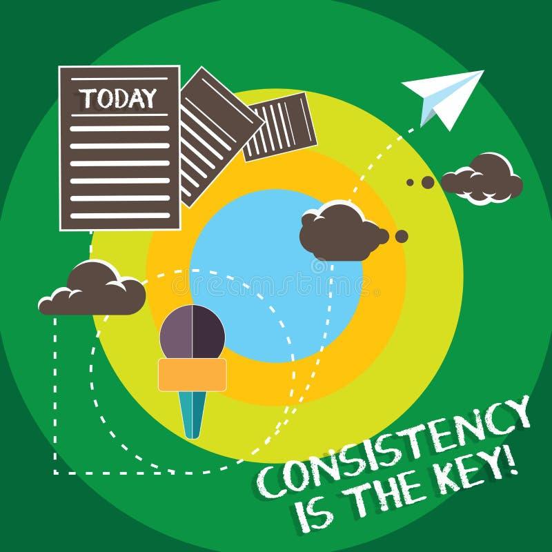 La escritura conceptual de la mano que muestra consistencia es la llave Esmero completo del texto de la foto del negocio a una ta libre illustration