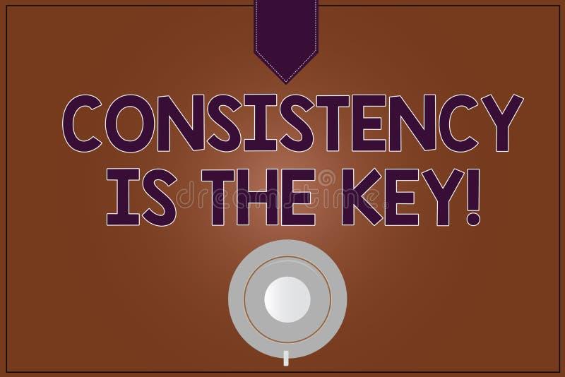 La escritura conceptual de la mano que muestra consistencia es la llave Foto del negocio que muestra el esmero completo a una tar ilustración del vector