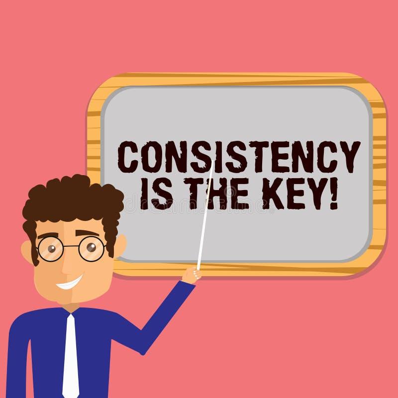 La escritura conceptual de la mano que muestra consistencia es la llave Foto del negocio que muestra el esmero completo a una tar libre illustration