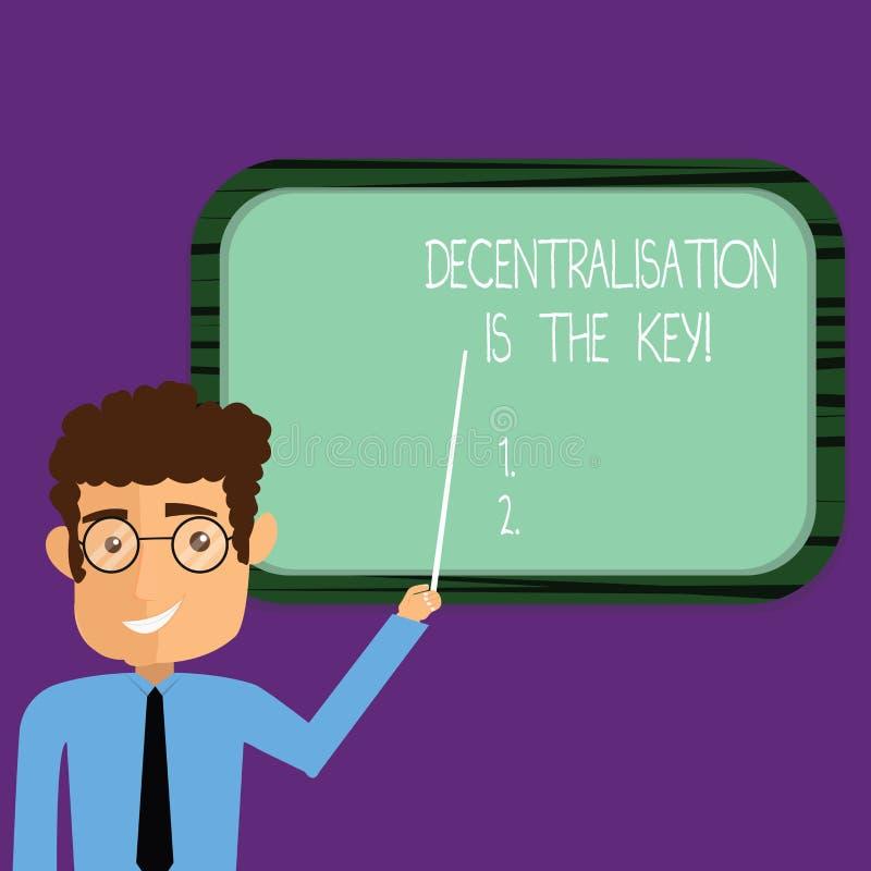 La escritura conceptual de la mano que muestra la descentralización es la llave Futuro de exhibición del cryptocurrency de la cad ilustración del vector