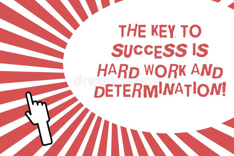 La escritura conceptual de la mano que muestra la llave al éxito es difícilmente trabajo y determinación Esmero de exhibición de  stock de ilustración