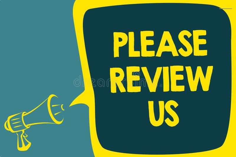 La escritura conceptual de la mano que muestra por favor nos revisa La exhibición de la foto del negocio da a comentarios de una  libre illustration