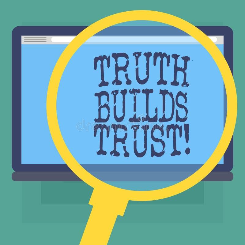La escritura conceptual de la mano que muestra verdad construye el texto de la foto del negocio de confianza que usted piensa que stock de ilustración