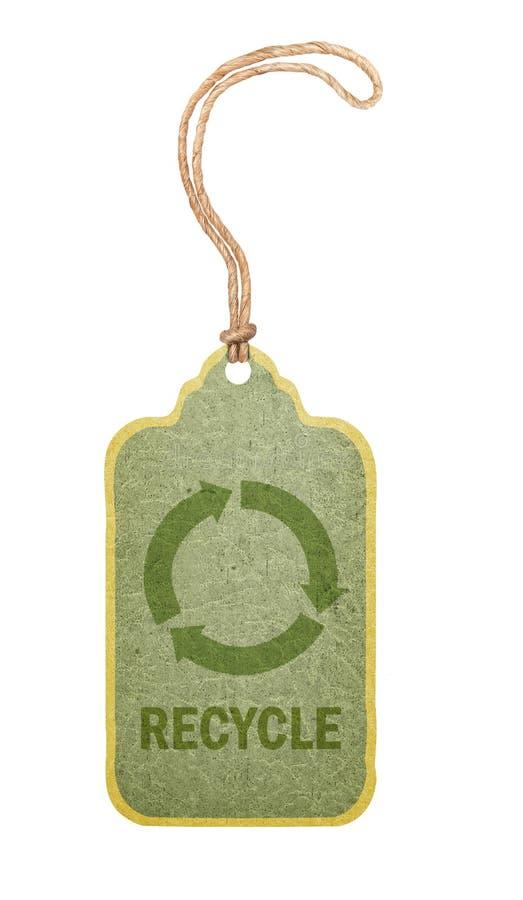 La escritura de la etiqueta con recicla símbolo. fotografía de archivo libre de regalías