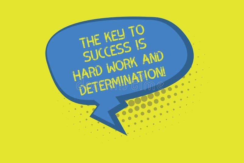 La escritura de la nota que muestra la llave al éxito es difícilmente trabajo y determinación Esmero de exhibición de la foto del stock de ilustración