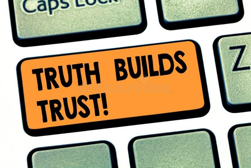 La escritura de verdad de la demostración de la nota construye la foto del negocio de confianza que le muestra piensa que son con imágenes de archivo libres de regalías