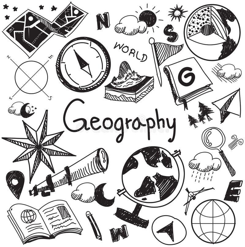 La escritura del tema de la educación de la geografía y de la geología garabatea el icono stock de ilustración