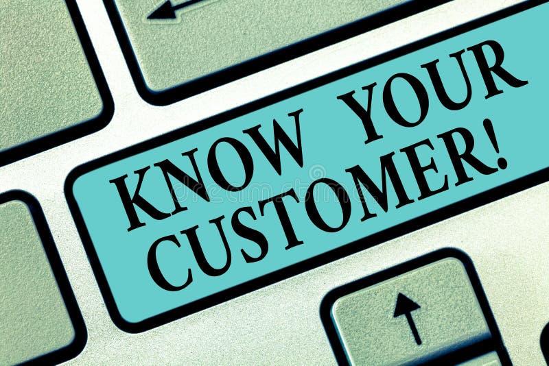 La escritura del texto de la escritura conoce a su cliente Significado del concepto que verifica a clientes de la identidad y que libre illustration