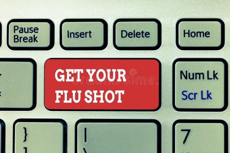 La escritura del texto de la escritura consigue su vacuna contra la gripe El significado del concepto adquiere la vacuna para pro imágenes de archivo libres de regalías