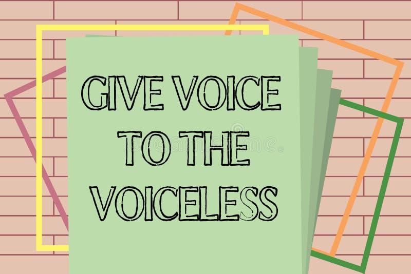 La escritura del texto de la escritura da voz al sordo El significado del concepto habla hacia fuera en nombre defiende el vulner stock de ilustración