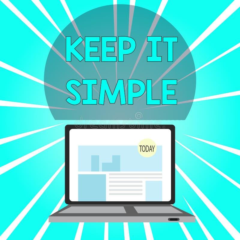 La escritura del texto de la escritura lo mantiene simple Significado del concepto para hacer algo fácil entender y no de la mane stock de ilustración