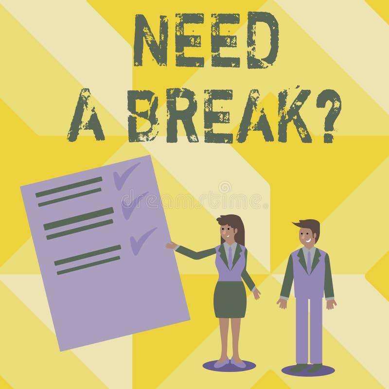 La escritura del texto de la escritura necesita un Breakquestion La separación necesaria las vacaciones del significado del conce libre illustration