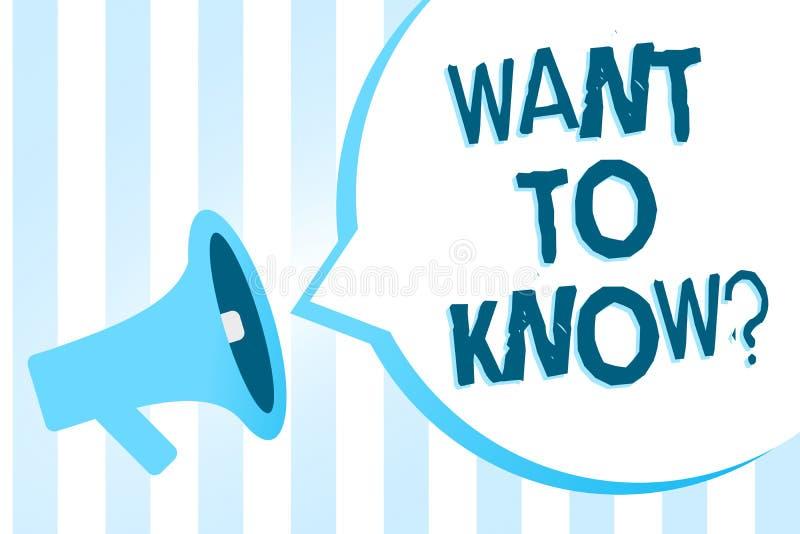 La escritura del texto de la escritura quiere conocer la pregunta Solicitud de información del significado del concepto que pide  stock de ilustración