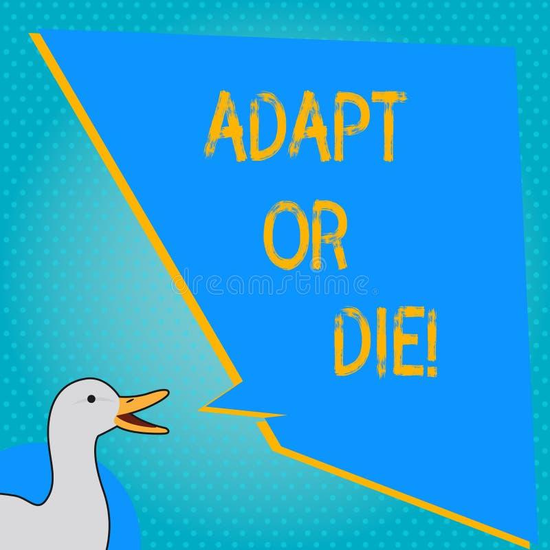 La escritura del texto de la escritura se adapta o muere El significado del concepto sea flexible a los cambios continuar actuand stock de ilustración